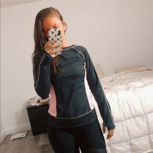 Pink + Gray Lululemon Long Sleeve Workout Top